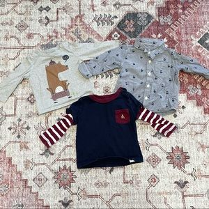 Baby boy lot of 3 Gap long sleeved shirts